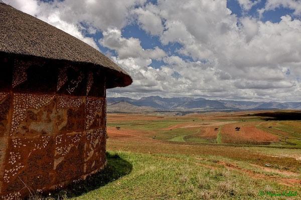 Rundhütten in Lesotho