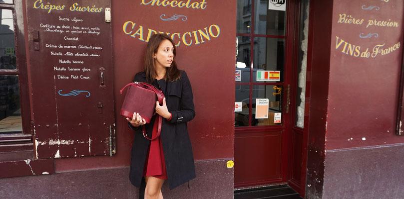 Sac seau l'Insolente Paris- univers gourmande- sac femme - sac bordeaux - sac en lin des vosges - maroquinerie pour femme - sac créateur