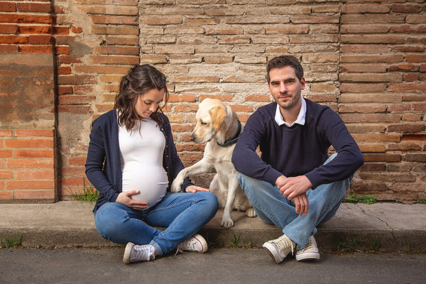 photographe grossesse avec chien toulouse, séance photo grossesse avec chien
