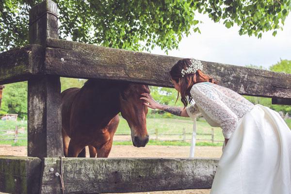 Photographe de mariage Albi et Castres, photos de couple, mariée avec cheval