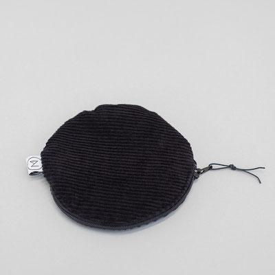 kleiner runder  Geldbeutel Cord - täschchen Cord - schwarz - tiefschwarz