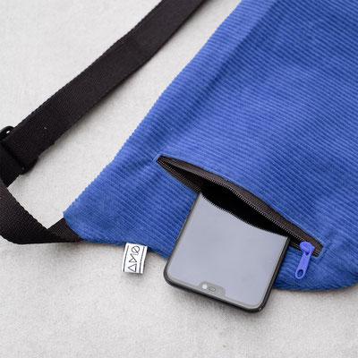 Bauchtasche groß - Bauchtasche Cord L kobaltblau - saphirblau - königsblau - Crossbodybag - Bumbag - Cordtasche - Bauchtasche Cord L blau - blaue Tasche - Handtasche - Umhängetasche - Handyfach in Tasche - Cord - dunkle Tasche - Zacamo Tasche