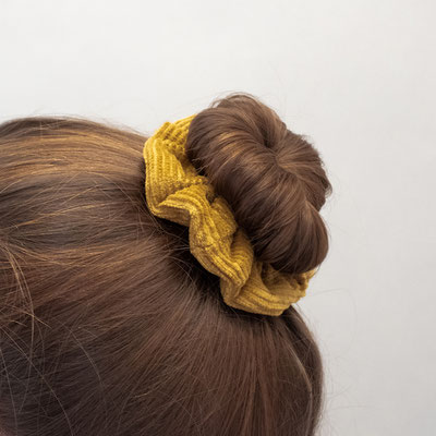 Scrunchie aus Cord - Scrunchie gelb - Scrunchie currygelb - Haargummi - Haargummi Cord - Zacamo