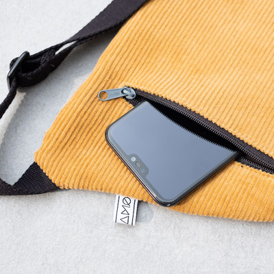 gelbe Bauchtasche - Zacamo - Bauchtasche Cord - Bauchtasche Cord L gelb - safrangelb - dunkelgelb - hellgelb - helle Tasche - Bumbag - Crossbodybag