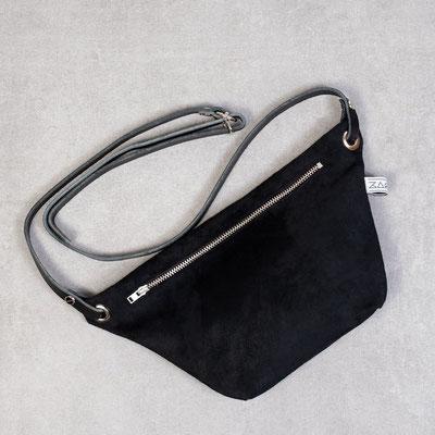 Bauchtasche Suede schwarz - Zacamo - Bauchtasche - schicke Bauchtasche - Damentasche - Handtasche - Umhängetasche -