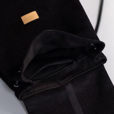 Minirucksack aus Cord schwarz
