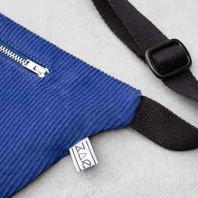 blaue Bauchtasche - Bauchtasche groß - Cordtasche - Bauchtasche Cord L kobaltblau - blau - dunkelblau
