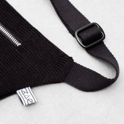 Bauchtasche Zacamo - Tasche - Umhängetasche - Crossbodybag - Bumbag - schwarz - tiefschwarz - Zacamo - Cordtasche - Cord - Baumwollriemen - verstellbar