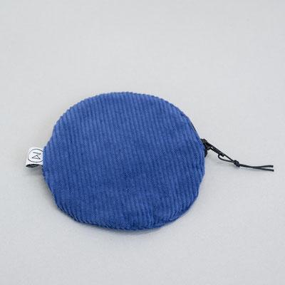 kleines rundes Täschchen - kleiner runder Geldbeutel Cord - Cord - blau - Zacamo