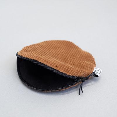 Täschchen - Cord - kleiner runder Geldbeutel - Zacamo - kamelbraun
