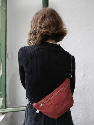 Bauchtasche - Handtasche - Tasche - Cord - Cordtasche - rostrot - rote Bauchtasche -Bauchtasche aus Cord - zacamo