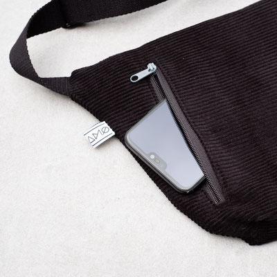 Bauchtasche - große Bauchtasche - Cordtasche - Cord - Reißverschlusstasche - Handyfach - Zacamo - schwarz - tiefschwarz - dunkelschwarz - dunkel - Tasche dunkel - Herrentasche - Männertasche - Damentasche