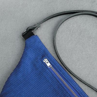 Bauchtasche, Zacamo, kobaltblau, Umhängetasche, Tasche, Damentasche, Handtasche, blaue Tasche, Cord,  Cordtasche