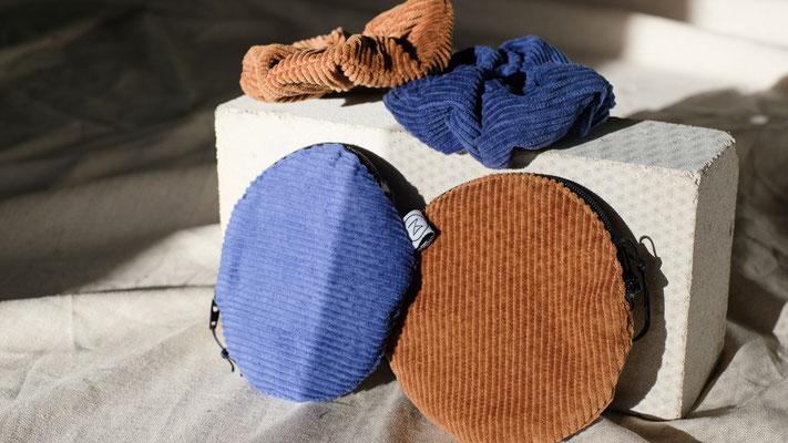 Zacamo - Cord - Cordtäschchen - kleiner runder Geldbeutel Cord - Kosmetiktasche