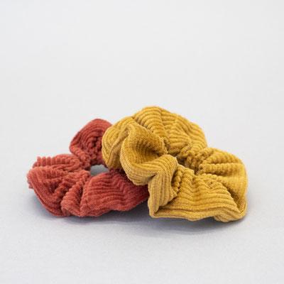 Scrunchie Set Tulip - Zacamo - currygelb und rostrot - Cordgummi - Haargummi aus Cord