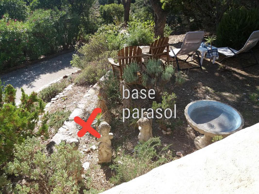 Dieser Bereich wird zur neuen Terrasse. Das X markiert die Position des neuen Schirmfußes
