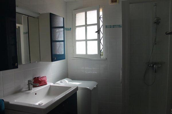 Bad mit Dusche und Waschmaschine, WC separat