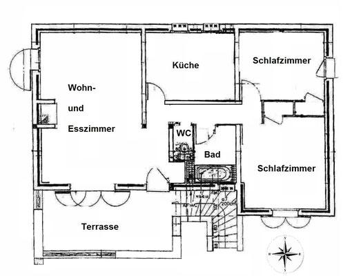 Grundriss ohne Garage und neue Außenterrasse (2020)