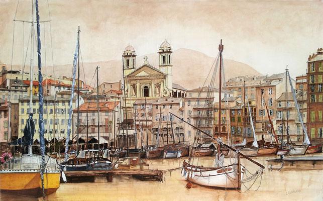 Bastia - le Vieux Port et l'église St Jean Baptiste - 130 x 81 cm