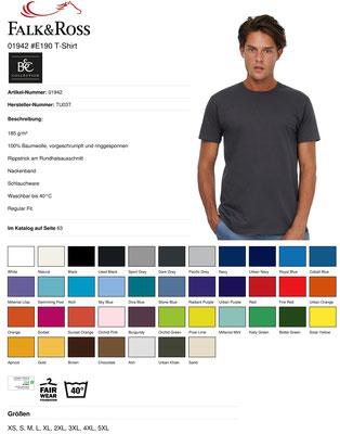 Suchen Sie sich die Farbe Ihres T-Shirts aus - wir sticken Ihr Wunschmotiv dazu - Vorne, hinten oder am Ärmel