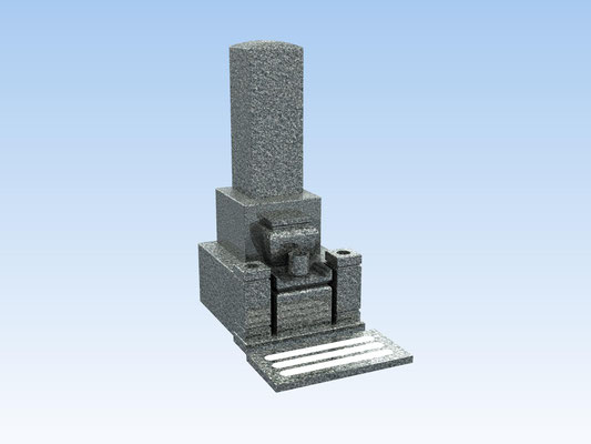 和型墓石セット・8寸角二重台式(踏み石付) 価格 440,000円(税込み)