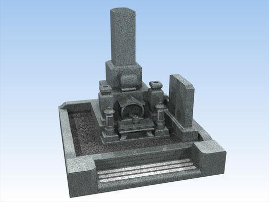 外枠・墓石セット・タイプW-D(和墓9寸角)  平均価格 1.296.000円(税込み)