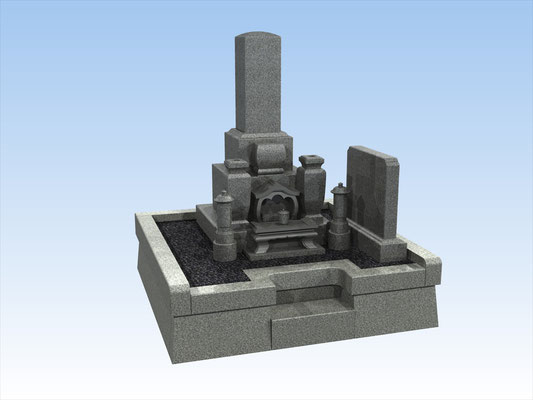外枠・墓石セットF 面積3平方メートル 平均価格 1.209.600円(税込み)