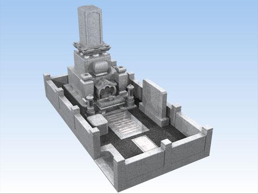 外枠・墓石セットJ 面積6.4平方メートル 平均価格 1.620.000円(税込み)