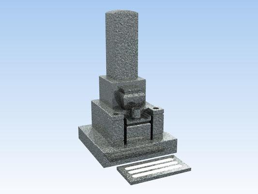 和型墓石セット・8寸角三重台式(踏み石付) 価格 550,000円(税込み)