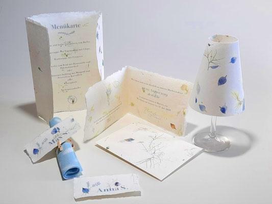 Hochzeitspapeterie aus handgeschöpftem Papier, PAPIER-art Werkstatt, Mattsee, Österreich