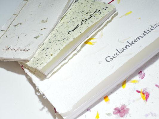 Bücher, handgebunden, handgeschöpftes Büttenpapier, PAPIER-art ART-papier, Mattsee, Salzburger Seenland