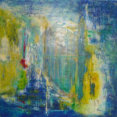Nr. 208 Unterirdischer See, Acryl auf Leinwand, 80 x 80 cm, 210 €