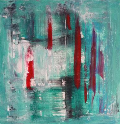 Nr. 198 Rot Grün Komposition, Acryl auf Leinwand, 60 x 60 cm, 75 €