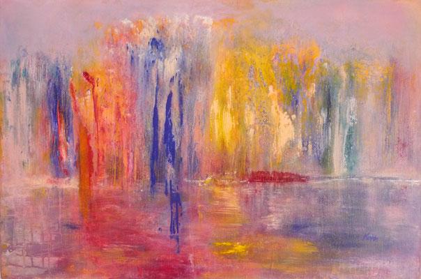 Nr. 192 Herbstwald, Acryl auf Leinwand, 90 x 60 cm , 185 € inkl. Schattenfugenrahmen rot