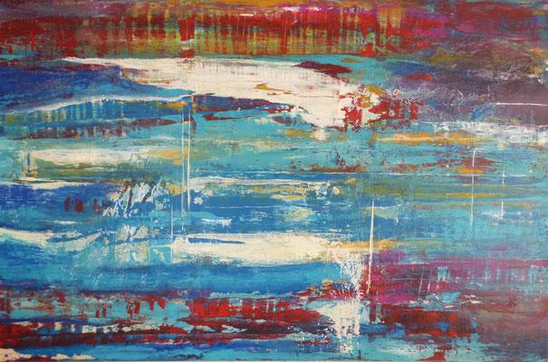 Nr. 287 Vivement, Acryl auf Leinwand, 150 x 100 cm, inkl. Schattenfugenrahmen dunkelblau