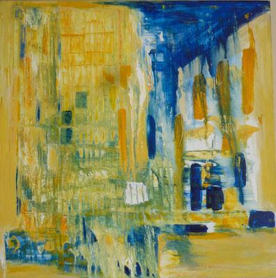 Nr. 210 Komposition indisch gelb und blau, Acryl auf Leinwand, 80 x 80 cm, 175 €