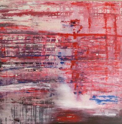 Nr. 228 Komposition mit rot, Acryl auf Leinwand, 80 x 80 cm,