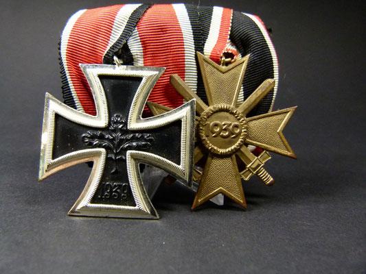 2er Ordensspange nach 57er Ordenserlass Eisernes Kreuz 2 Klasse 1939 und Kriegsverdienstkreuz 1939 Firma Steinhauer & Lück