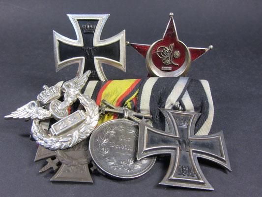 Eisernes Kreuz 1 Klasse 1914 Eiserner Halbmond Ordenspange  FEK Reuss Silber Medaille Eisernes Kreuz 2 Klasse 25 Jahre Eisenbahn Preussen