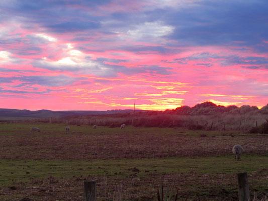 Bei so einem Sonnenaufgang soll man sich vorsehen  -  such a sunrise does not mean anything good normally