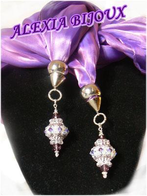 Art. 202 - Sciarpa o stola di seta viola-oro con preziosissimi ciondoli swarovski!