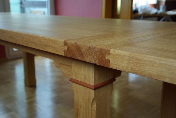 HoWeCa - Eiche-Massivholz Tisch, Ausziehbar, Detail-Ansicht, Privatkunde