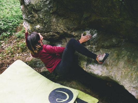 """Anna Buchmann in """"Boulder vong veinsten"""" (6c+)"""