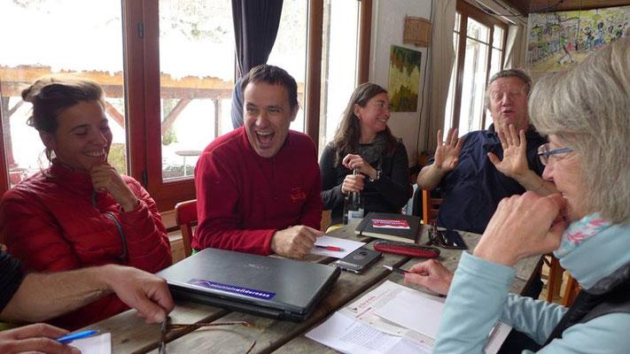 Détremination et bonne humeur... (ici, Jordi le président de Montain Wilderness International).