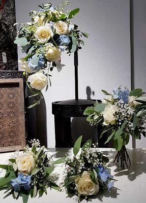 Brautstrauß, Wurfstrauß und Brautjunfernsträuße