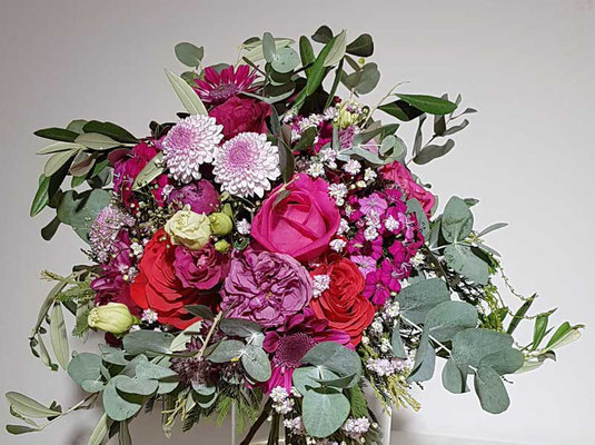 Brautstrauß in pink - rot