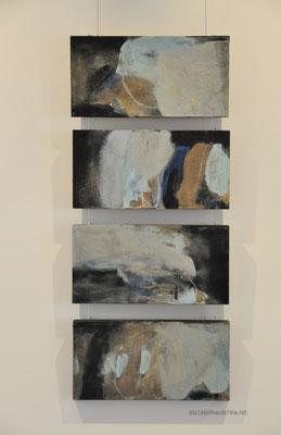 blaue Serie. je 20x40 cm. Acryl/Wachs auf Holz. Iris Lehnhardt 2017