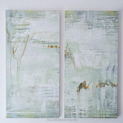598+599. je 50x100 cm. Acryl/Collage/Papier/Grafit auf Holzboard. Iris Lehnhardt 2017