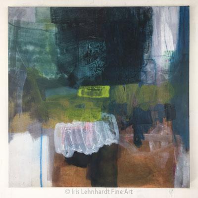 Bluish Things, 60x60 cm, Mischtechnik/Collage auf Leinwand, Iris Lehnhardt 2021