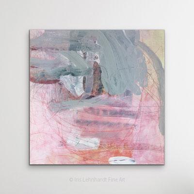 Pink Things, 50x50 cm, Mischtechnik auf Leinwand, Iris Lehnhardt 2021